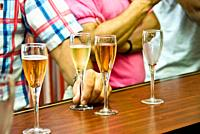 Reims, France, Champagne Glasses, Tourists Tasting Champagne at Bar