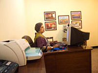 Former president of Sri Lanka Chandrika Kumaratunga, at business centre of Grand Palace Hotel, in Srinagar, Kashmir, India May 24, 2008