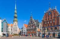 St Peter´s Church, Peterbaznica, House of the Blackheads, Melngalvju nams, Town Hall Square, Ratslaukums, Old Town, Vecriga, Riga, Latvia.