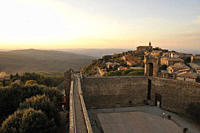 View from fortress over evening like city in autumn, Montalcino, southern Tuscany, Italy, Europe