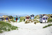 little beach huts at Skanoer beach, Skanoer, Skane, South Sweden, Sweden