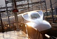 Shinkansen high speed train, Railway station, Kyoto, Japan
