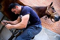 Preparing horse for bullfight, Las Ventas bullring, Madrid, Spain