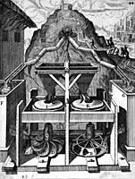 Illustration from Theatrum Machinarum Novum 1661 by Georg Andreas Böckler, A flour grinding mill powered by water fed through pipes from a source on a...