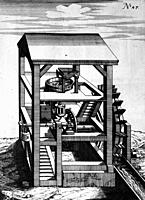 Illustration from Theatrum Machinarum Novum 1661 by Georg Andreas Böckler, A water powered flour milling machine