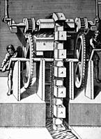 Illustration from Theatrum Machinarum Novum 1661 by Georg Andreas Böckler, A chain or rope washer pump or paternoster, A human powered irrigation pump...