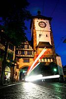 Tower in altstadt of Freiburg, Baden-Württemberg, Germany