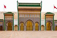 The arched entrance gates to the Royal Palace in Fes, Morocco