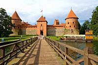 Traku salos pilis, Trakai Island Castle, on the island of Lake Galve, Trakai, Aukstaitija, Highlands, Lithuania.