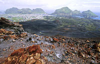 View from the Volcano Eldfell down to the settlement Heimaey Vestmannaeyjar Islands, Southern Iceland