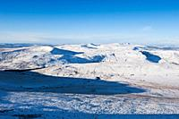 Winter view from Corn Du west towards Black Mountain, Brecon Beacons national park, Wales