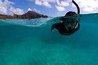 Split image of snorkeler hovering over sandy substrate, Hanauma Bay, Oahu, Hawaii