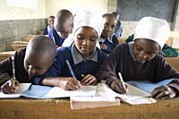 Schoolgirls working in a classroom, Langalanga Primary School, Gilgil district, Rift Valley, Kenya, East Africa, Africa