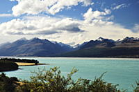 Lake Pukaki and Gammack Range with Mount Stevenson, Canterbury, South Island, New Zealand, Pacific