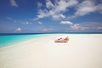 Two deck chairs on tropical beach ,Maldives, Indian Ocean, Asia