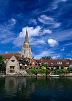 England, Oxfordshire, Abingdon. View of St Helens Church across the River Thames at Abingdon.