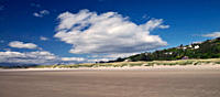 Wales, Gwynedd, Harlech. View across Harlech beach towards Harlech Castle, built by Edward l in the late thirteenth century as one of the most formida...