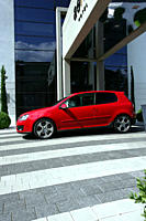 Car, VW Volkswagen Golf GTI, Golf V, model year 2004_, red, Limousine, Lower middle_sized class, standing, upholding, side view