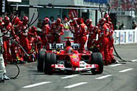 Car racing, Michael Schumacher in Ferrari, Formel 1, Persons, Race driver, pit stop, Great price of Germany at Hockenheim, photographer: Daniel Reinha...