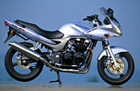 Sports motor cycle, Sporttourer, Kawasaki ZR_7S, silver, model year 2003, standing, upholding, side view, photographer Gargolov