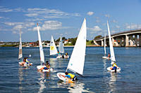 Children learning to sail on the outskirts of Sydney, Australia