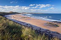 Embleton Bay, view across beach from south, autumn, Northumberland, England