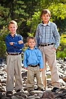 Colorado outdoor family portrait of 3 brothers