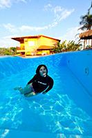 Underwater model in swimming pool, Bonito, Mato Grosso do Sul, Brazil