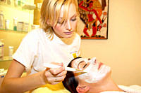 Young woman at an appointment in a beauty parlor