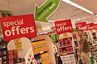 Row of Special Offer signs in Morrisons supermarket, Gibraltar