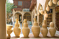 Oman sound jugs in the Souq of Nizwa, Clay pots at the handicraft souk Nizwa Oman