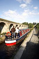 Narrowboat on Chirk Aqueduct Approaching Chirk Tunnel