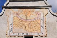 Sundial, Cesky Krumlov Castle, Cesky Krumlov, Czech Republic. It is the second biggest in Bohemia, erected in the first half of the 20th century by Vi...
