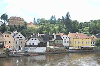 Hotels and restaurants on the Moldava River shore  Cesky Krumlov  Czech Republic