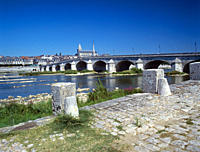 Picturesque bridge across the Loire in the town of Blois