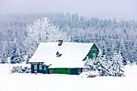 cottage in winter, Jizerske Mountains, Czech Republic
