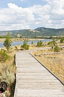 Boardwalk and river in Yellowstone National Park