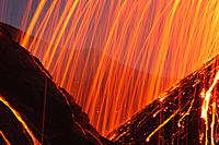 Italy, Sicily, Close up of Stromboli volcano erupting