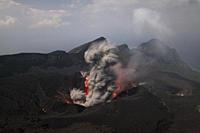 Japan, Suwanose jima volcano erupting