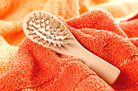Close up of back brush on towel