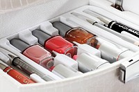 Close up of beauty case with cosmetics
