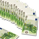 Row of 100 Euro notes on white background