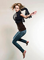 Woman jumping in air, portrait