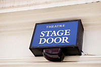 Stage door of West End theatre, London