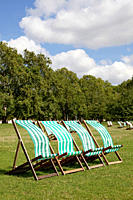 Deck chairs in St James's Park, London