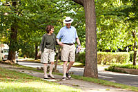 Senior couple walking in neighborhood
