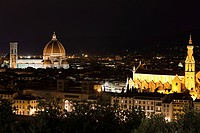 Santa Maria del Fiore and Santa Croce at night, Florence, Italy