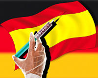 Close up of cash injection on spanish flag against german flag