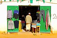 Retail shop for cloth in a street in the town centre of Jerma, Libya