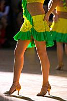 Close up of the legs of a female dancer